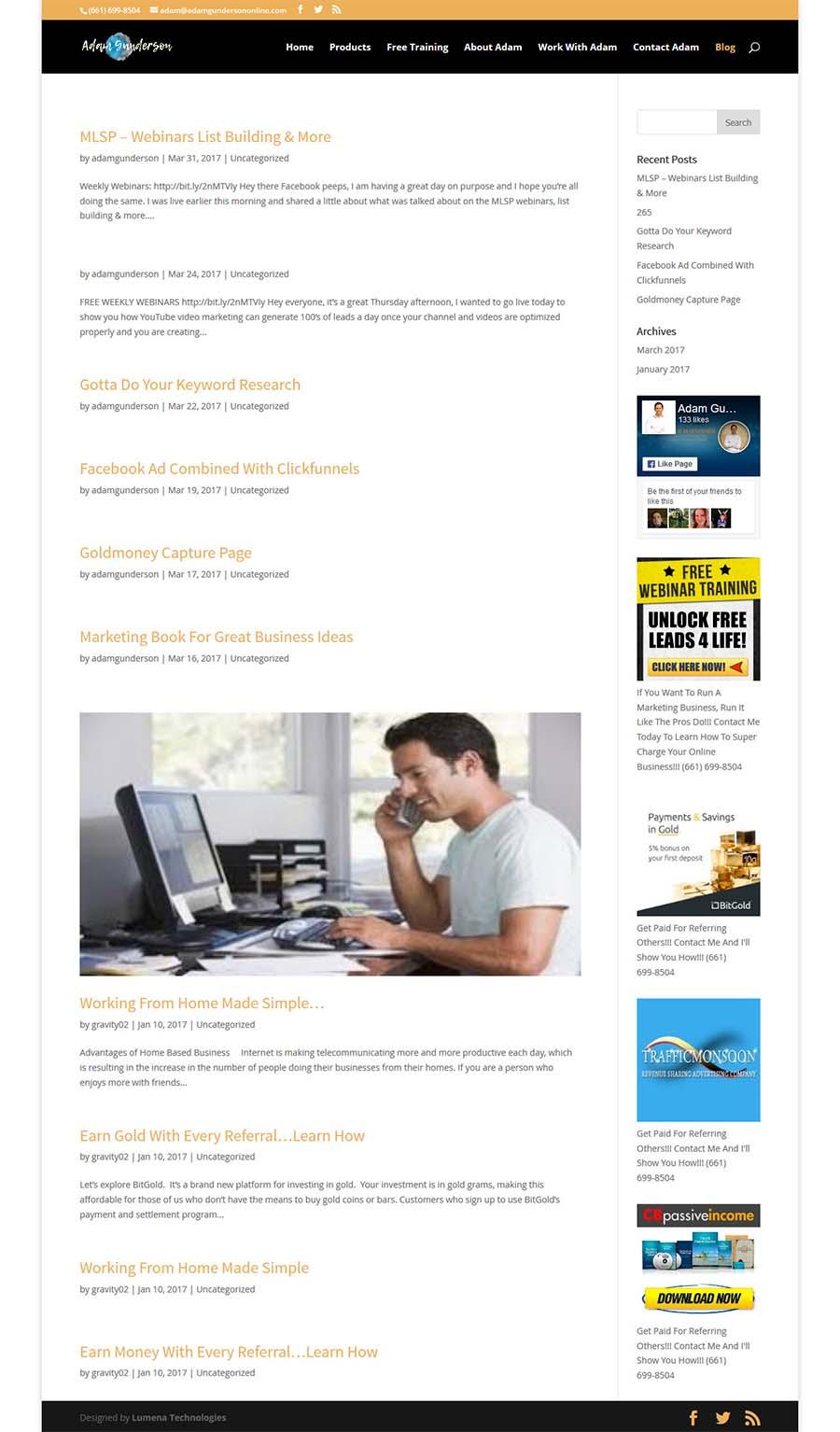 Owerri website design for adam gunderson online
